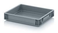 Eurobehälter geschlossen, 400x300x75 mm, Silbergrau