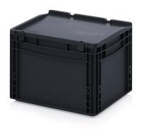 ESD-Eurobehälter mit Scharnierdeckel, 400x300x285 mm, Schwarz