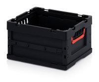 ESD-Faltboxen ohne Deckel, ohne Deckel, 400x300x220 mm, Schwarz