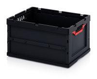 ESD-Faltboxen ohne Deckel, ohne Deckel, 600x400x320 mm, Schwarz