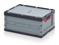 Faltboxen mit Deckel, mit Deckel, 600x400x270 mm, Silbergrau