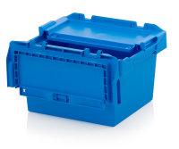 Mehrwegbehälter mit Deckel, 400x300x240 mm, Himmelblau
