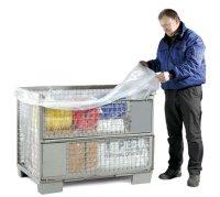 PE-Seitenfaltensack, 1300 + 950 x 1850 mm, Stärke 25 µ, transparent