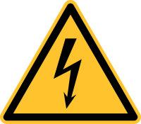 """Warnschild """"Elektr. Spannung""""..."""