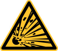 """Warnschild """"Explosionsgefährliche Stoffe""""..."""