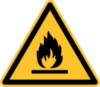 """Warnschild """"Feuergefährliche Stoffe""""..."""