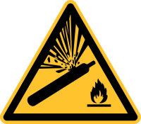 """Warnschild """"Warnung vor Gasflaschen""""..."""