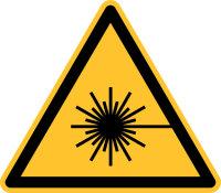 """Warnschild """"Warnung vor Laserstrahl""""..."""
