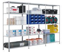 Fachbodenregal mit Schraubsystem MULTIplus250, 250kg Fachlast, RAL 7035 Lichtgrau, in verschiedenen Größen