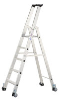 Aluminium-Stehleiter, 5 Stufen - mit Rollen, Arbeitsh. 3250 mm