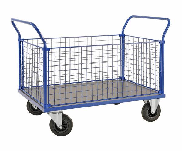 Kofferwagen, 1166x700x1020 mm, 500 kg Tragfähigkeit, Blau / MDF, braun, ohne Bremsen