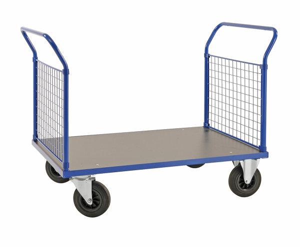 Plattformwagen, 1166x700x1020 mm, 500 kg Tragfähigkeit, Blau / MDF, braun, ohne Bremsen