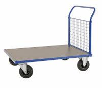 Plattformwagen, 1083x700x1020 mm, 500 kg Tragfähigkeit, Blau / MDF, braun, ohne Bremsen