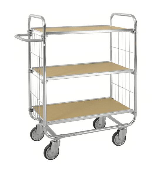 ESD-Etagenwagen mit 3 flexiblen Böden, 250 kg Tragfähigkeit