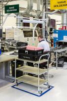 ESD-Etagenwagen mit 3 Böden, 3 Ebenen, 760 x 440 mm, 150 kg Tragfähigkeit, Verzinkt, ohne Bremsen