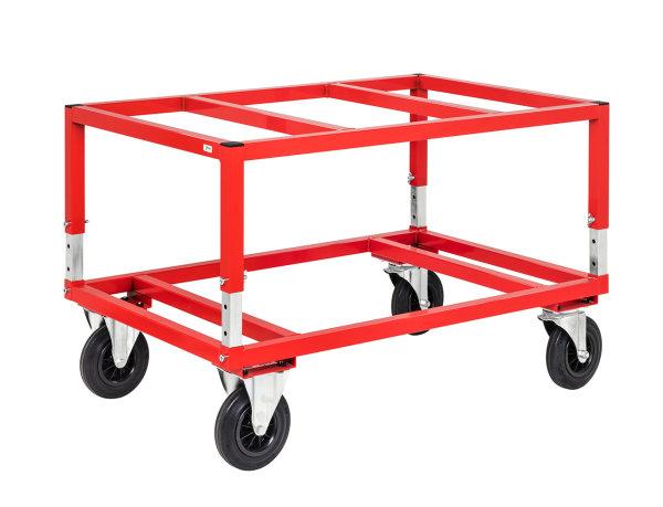 Palettenwagen, 800 kg Tragfähigkeit, Rot, mit variabler Höhe, für Paletten mit 1200x800 mm