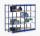Fachboden-Rohrregal, beidseitig, blau, bis 4000 kg Feldlast