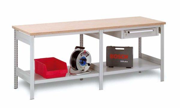 Arbeitstisch 2100x700x855 mm, mit 2 Fachböden
